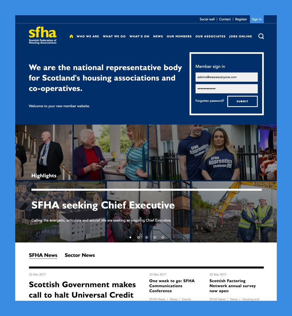 SFHA website preview